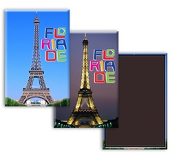 Lenticular Magnetic Rectangle Paris France Eiffel Tower changes from day to night