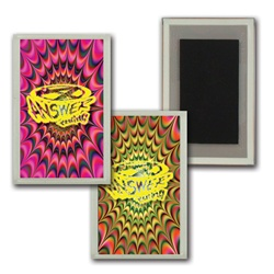 Lenticular acrylic magnet with psychedelic kaleidoscope pattern, yellow-orange and yellow-pink, flip