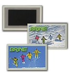 Lenticular Magnet in Acrylic Frame with group of snow skiers jumping off a freshly powdered mountain slope, flip