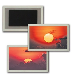 3D Magnet in Acrylic Frame Yellow Sun rising from behind a blanket of grey clouds, flip