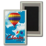 3D Lenticular Magnet Acrylic Frame Hot Air Balloon and parachute in cloudy summer sky, depth