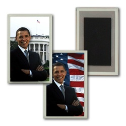 Lenticular Magnet in Acrylic Frame USA American President Obama, flag and capitol building, flip