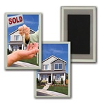 3D Magnet Acrylic Frame Real Estate realtor hands sold keys to buyer of house, flip
