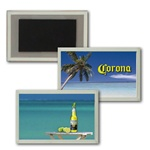 Lenticular acrylic magnet with custom design, full yellow Corona beer bottle with limes, tropical Hawaiian palm tree beach, flip