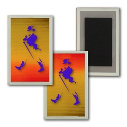Lenticular Magnet Acrylic Frame with brown, yellow, and orange, color changing with