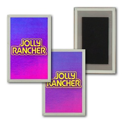 Lenticular Magnet in Acrylic Frame red and blue gradient, color changing
