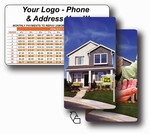 Lenticular mortgage calculator with real estate realtor hands sold keys to buyer of house, flip