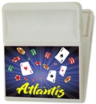 Lenticular magnetic clip with Las Vegas casino cards, dice, and chips, depth