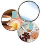Lenticular mirror with tropical Hawaiian flowes, potpurri, salt, and sea stars, flip