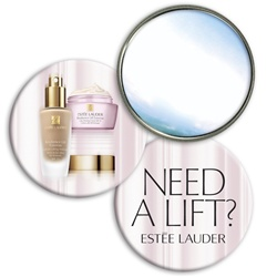 Lenticular mirror with custom design, Estee Lauder, need a lift, make up, lipstick, eye cream, flip