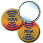 "Lenticular 2 1/4"" mirror with brown, yellow, and orange, color changing effect"