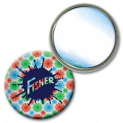 "Lenticular 2 1/4"" in diameter mirror with red, blue, and green spinning wheels, white background, animation"