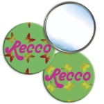 Lenticular mirror with yellow, red, and green butterflies on a green background, color changing flip