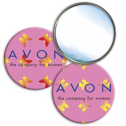 Round lenticular mirror with yellow and red butterflies on a pink background