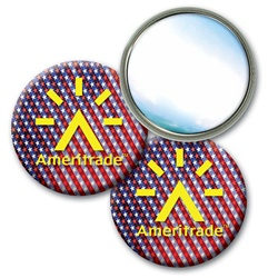 Lenticular mirror with USA flag stars and stripes, color changing flip