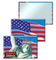 Lenticular mirror with Statue of Liberty and American flag, flip