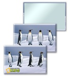 Lenticular mirror with emperor penguins dancing in the Antarctic snow, flip