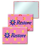 "Lenticular 2""x 3"" mirror with yellow and red butterflies on a pink background, color changing flip"