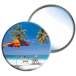 Lenticular Mirror Beach Paradise Background with Umbrella and Chair, Flip effect