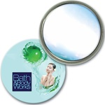 Lenticular mirror with custom design, Bath & Body Works, Asian woman caresses face with green apple lotion, depth