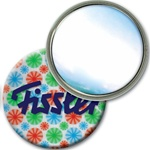 Lenticular mirror with red, blue, and green spinning wheels, white background, animation