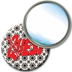 Lenticular mirror with black spinning wheels on white background, animation