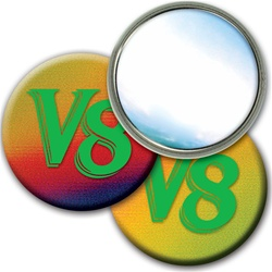 Lenticular mirror with red, yellow, blue, and green, color changing