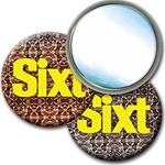 "Lenticular mirror with snakeskin print, color changing effect 3"" diameter"