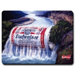 Lenticular mouse pad with custom design, waterfall flows over a Budweiser red and white vintage can, animation
