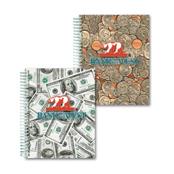 Lenticular 4 x 5 inches 3D notebook with USA American money, currency, dollars and coins, flip