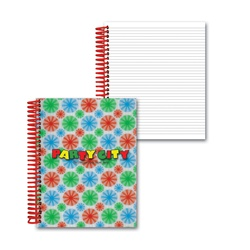 Lenticular 4 x 5 inches 3D notebook with red, blue, and green spinning wheels, white background, animation