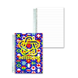 Lenticular notebook with international flags including USA, Mexico, Canada, France, Israel, Switzerland and more, depth