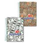 Lenticular 4 x 6 inches 3D notebook with USA American money, currency, dollars and coins, flip