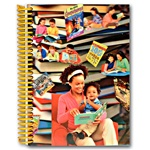 Lenticular notebook with custom design, mother reads books with toddler child, books fly out of book case, depth