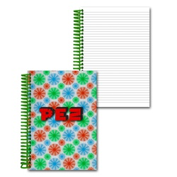 Lenticular 4 x 6 inches 3D notebook with red, blue, and green spinning wheels, white background, animation
