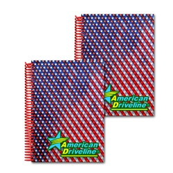 Lenticular 5 x 7 inches 3D notebook with American flag stars and stripes, red, white, and blue, color changing flip