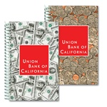 Lenticular notebook with USA American money, currency, dollars and coins, flip
