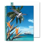 Lenticular notebook with white seagull swoops past a palm tree, bird of paradise, and cruise ship on a tropical Hawaiian beach