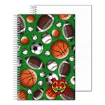Lenticular notebook with baseballs, soccer balls, futbols, basketballs, and American footballs, depth