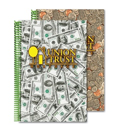 Lenticular 6 x 9 inches 3D notebook with USA American money, currency, dollars and coins, flip