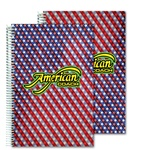 Lenticular 6 x 9 inches 3D notebook with American flag stars and stripes, red, white, and blue, color changing flip