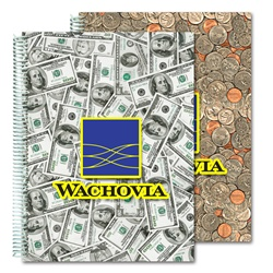 Lenticular 8 x 11 inches 3D notebook with USA American money, currency, dollars and coins, flip