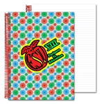 Lenticular 8 x 11 inches 3D notebook with red, blue, and green spinning wheels, white background, animation