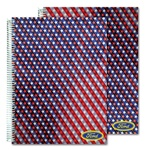 Lenticular 8 x 11 inches 3D  notebook with American flag stars and stripes, red, white, and blue, color changing flip