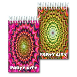 Lenticular mini notebook with psychedelic kaleidoscope pattern, yellow-orange and yellow-pink, flip