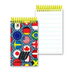 Lenticular mini notebook with international flags including USA, Mexico, Canada, France, Israel, Switzerland and more, depth