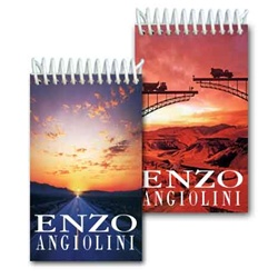 Lenticular mini notebook with serene open road in a desert changes to a bridge under construction in the sunset, flip