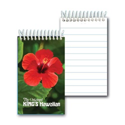 Lenticular mini notebook with large red tropical Hawaiian hibiscus flower, depth