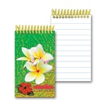 Lenticular mini notebook with large white tropical Hawaiian plumeria flower, depth