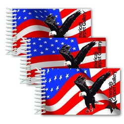 Lenticular mini notebook with USA American flag stars and stripes waving in the wind, animation